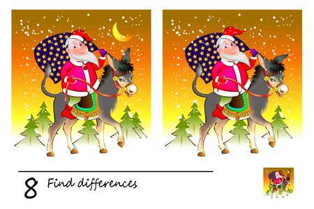 Logic puzzle game for children and adults. Find 8 differences. Printable page for kids textbook. Santa Claus with Christmas gifts riding on donkey. Developing counting skills. IQ test. Stock Illustratie