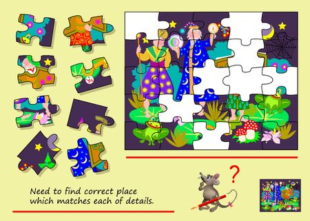Logical puzzle game for children and adults. Find place which for each piece. Printable page for brain teaser book. Developing counting and spatial thinking skills. IQ training test.