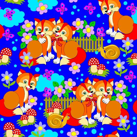Seamless pattern ornament kids clothes or toys with cute foxes. Modern print ornate for children room wallpaper and textile. Beautiful background. Vector cartoon image. Stockfoto - 134264399