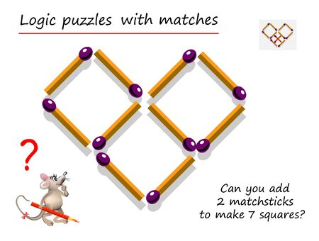 Logical puzzle game with matches for children and adults. Can you add 2 matchsticks to make 7 squares? Printable page for brain teaser book. IQ training test. Developing spatial thinking skills. Stock Illustratie