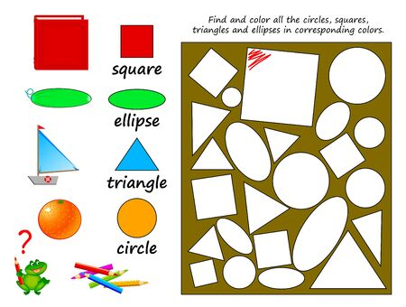 Educational page for kids to study geometrical figures. Find and color all circles, squares, triangles and ellipses in corresponding colors. Printable worksheet for children. School math textbook. Stockfoto - 135369997