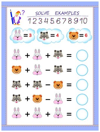 Educational page for little children on addition and subtraction. Solve examples according to value of each animal and write numbers in circles. Printable worksheet for kids math school textbook.