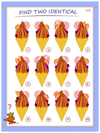 Logical puzzle game for little children. Need to find two identical ice creams. Educational page for kids. IQ training test. Printable worksheet for textbook. Back to school. Vector cartoon image. Stockfoto - 135369999
