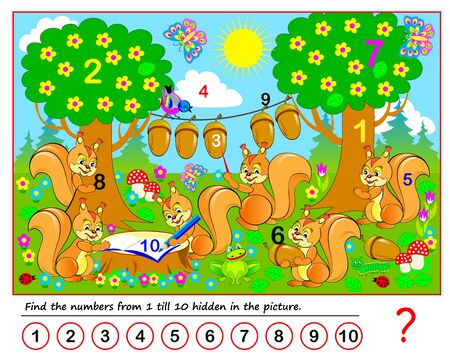 Logic puzzle game. Math education for young children. Find the numbers from 1 till 10 hidden in the picture. Developing counting skills. IQ test. Printable worksheet for kids book. Back to school. Stockfoto - 135370000