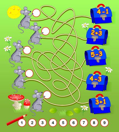 Math education for young children. Solve examples and write numbers in circles. Exercises on addition and subtraction. Developing counting skills. Printable worksheet for kids book. Back to school. Illustration