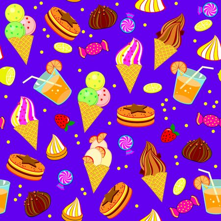 Seamless pattern ornament for kids birthday celebration or fest. Illustration of sweets, ice cream, candies and delicious food. Beautiful background for children holiday, clothes and textile.