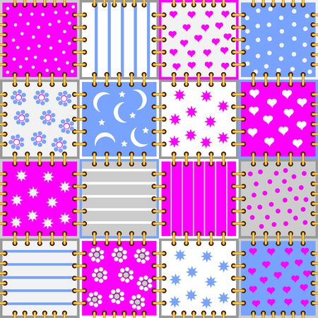 Seamless pattern ornament kids clothes or toys. Background with pieces of colorful fabric sew together. Popular print ornate for children room wallpaper, textile and embroidery. Vector cartoon image. Stockfoto - 135370007