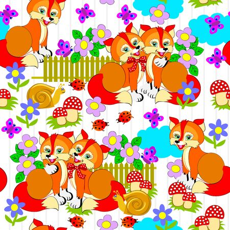 Seamless pattern ornament kids clothes or toys. Cute foxes scattered on white background. Modern print ornate for children room wallpaper and textile. Vector cartoon image. Stock Illustratie