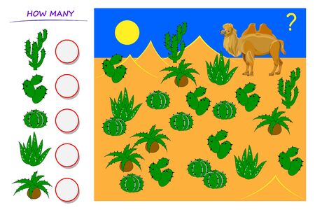 Math education for young children. Help the camel count quantity of cactus and write numbers in circles. Developing counting skills. Printable worksheet for kids school book. Vector cartoon image.