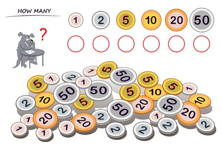 Logic puzzle game for children and adults. Help the dog count quantity of each coin and write numbers in circles. Kids math education. Developing counting skills. Printable worksheet for textbook. Stockfoto - 135370017