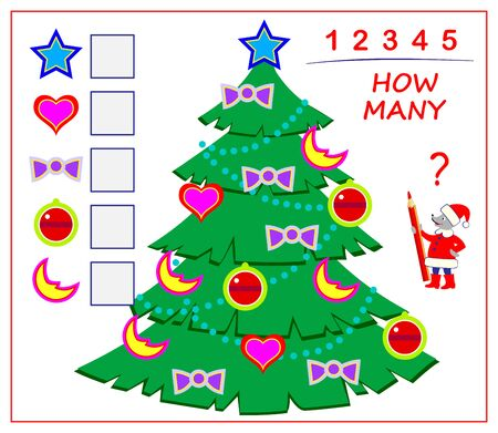 Logic puzzle game for children and adults. Count quantity of toys in Christmas tree and write numbers in squares. Kids math education. Developing counting skills. Printable worksheet for textbook.