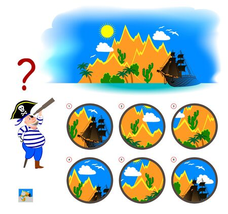 Logical puzzle game for children and adults. Find the correct view which pirate sees in spyglass. Printable page for kids brain teaser book. Developing spatial thinking skills. IQ training test.