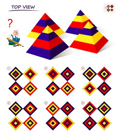 Logical puzzle game for children and adults. Find the correct top view of the pyramids. Printable page for kids brain teaser book. Developing spatial thinking skills. IQ training test. Vector image. Stock Illustratie
