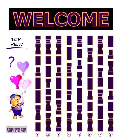 Logical puzzle game for children and adults. Find the correct top view of word welcome. Printable page for kids brain teaser book. Developing spatial thinking skills. IQ training test. Vector image. Stock Illustratie