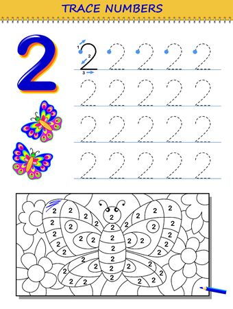 Educational page for kids with number 2. Printable worksheet for children textbook. Developing skills of counting, writing and tracing. Baby coloring book. Back to school. Vector image.