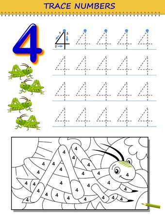 Educational page for kids with number 4. Printable worksheet for children textbook. Developing skills of counting, writing and tracing. Baby coloring book. Back to school. Vector image. Stock Illustratie