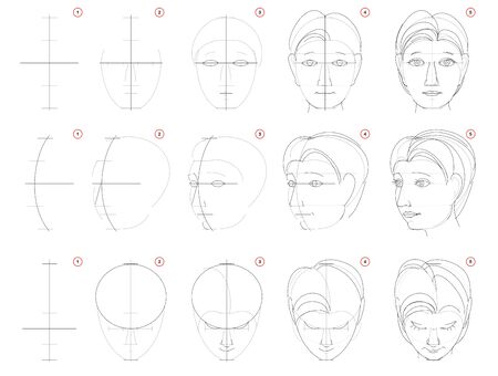 How to draw sketch of human head in different positions. Creation step by step pencil drawing. Educational page for artists. School textbook for developing artistic skills. Hand-drawn vector image. Stock Illustratie