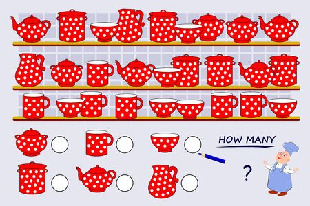 Math education for young children. Help the cook count quantity of each of dishes and write the numbers. Developing counting skills. Printable worksheet for kids school book. Vector cartoon image. Stockfoto - 135231026