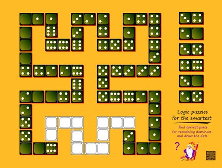 Logic puzzle game for children and adults. Find correct place for remaining dominoes and draw dots. Printable page for kids brain teaser book. Developing math, counting and spatial thinking skills. Stockfoto - 135231060