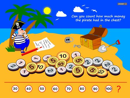 Logic puzzle game for children and adults. Can you count how much money the pirate had in the chest? Printable page for kids brain teaser book. Developing mathematical counting skills. IQ test. Stockfoto - 135231020