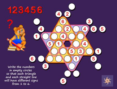 Logic puzzle Sudoku game for children and adults. Write the numbers in empty circles so each triangle and each straight line have different signs from 1 to 6. Print for kids brain teaser book. Stockfoto - 135370296
