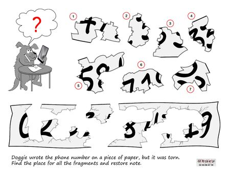 Logic puzzle game for children and adults. Doggie wrote the phone number on a piece of paper, but it was torn. Find the place for all the fragments and restore note. Print for kids brain teaser book. Stock Illustratie