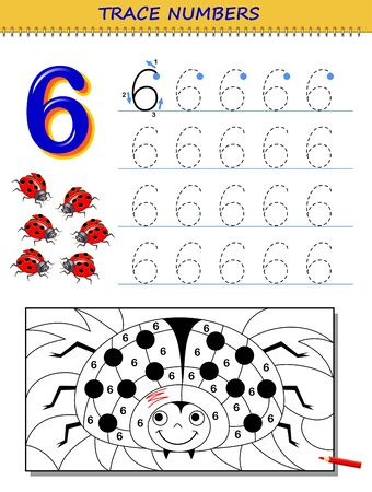 Educational page for kids with number 6. Printable worksheet for children textbook. Developing skills of counting, writing and tracing. Baby coloring book. Back to school. Vector image. Stock Illustratie