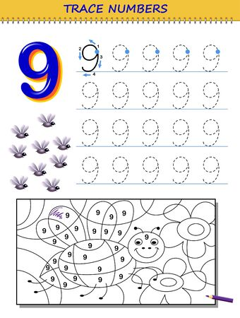 Educational page for kids with number 9. Printable worksheet for children textbook. Developing skills of counting, writing and tracing. Baby coloring book. Back to school. Vector image. Stock Illustratie