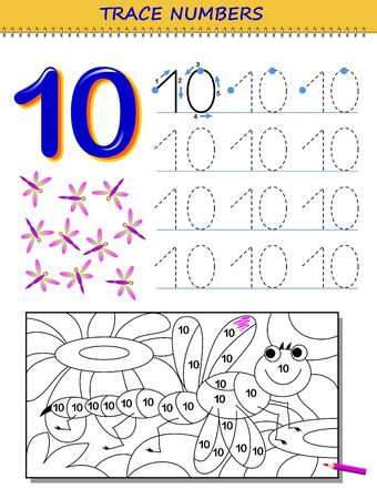 Educational page for kids with number 10. Printable worksheet for children textbook. Developing skills of counting, writing and tracing. Baby coloring book. Back to school. Vector image.