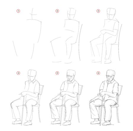 How to draw from nature sketch of sitting old man. Creation step by step pencil drawing. Educational page for artists. School textbook for developing artistic skills. Hand-drawn vector image. Stock Illustratie