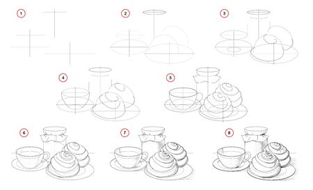How to draw step-wise still life with cup of tea and tasty cakes. Creation step by step pencil drawing. Educational page for artists. Textbook for developing artistic skills. Hand-drawn vector image. Stock Illustratie