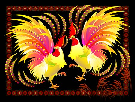 Couple of fantastic Chinese roosters with bright feathers on black background. Modern print for festival performance with abstract oriental decoration. Asiatic fire holiday. Printable vector image.