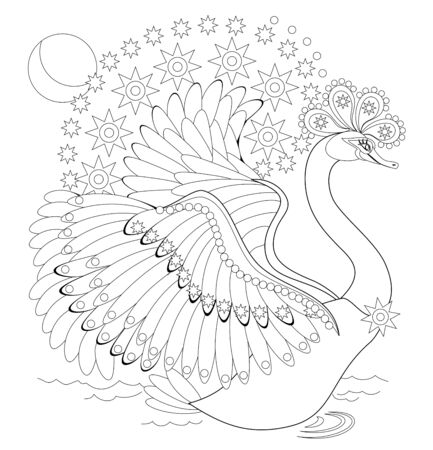 Black and white page for baby coloring book. Illustration of beautiful  fairy tale swan. Printable template for kids. Worksheet for children and adults. Fantastic bird. Hand-drawn vector image. Stock Illustratie