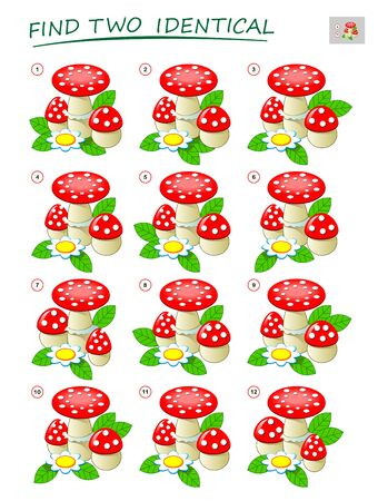 Logic puzzle game for children and adults. Need to find two identical mushrooms. Printable page for kids brain teaser book. Developing spatial thinking skills. IQ test. Vector cartoon image.