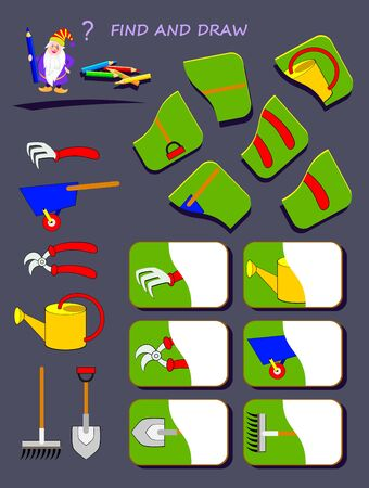 Educational page for kids. Help the wizard find second half of each garden tool. Draw them in correct places. Printable worksheet for children book. Logic puzzle game. IQ test. Vector cartoon image.
