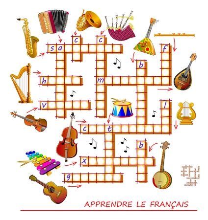 Crossword puzzle game with musical instruments. Learn French. Educational page for children to study French language and words. Printable worksheet for kids textbook. Back to school. Vector image.