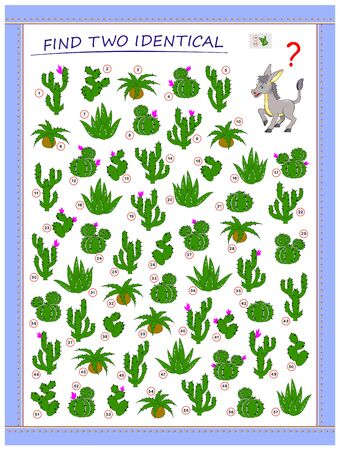 Help the donkey find 2 identical cactus. Logic puzzle game for children and adults. Printable page for kids brain teaser book. Developing spatial thinking skills. IQ test. Vector cartoon image.