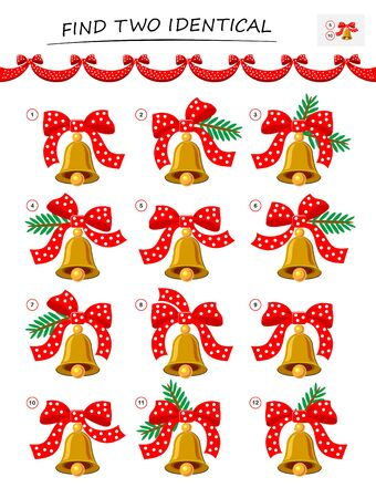 Need to find two identical Christmas bells. Logic puzzle game for children and adults. Printable page for kids brain teaser book. Developing spatial thinking skills. IQ test. Vector cartoon image.