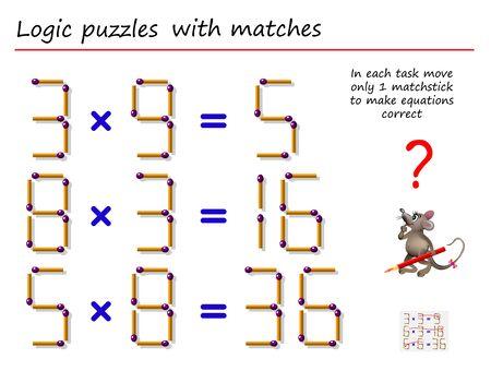 Logisches Puzzlespiel mit Streichhölzern. Bewegen Sie in jeder Aufgabe nur 1 Streichholz, um die Gleichungen richtig zu machen. Matheaufgaben zur Multiplikation. Druckbare Seite für ein Denksport-Buch. Vektorbild. Vektorgrafik