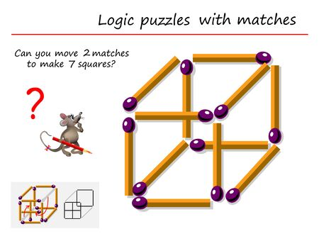 Logic puzzle game with matches for children and adults. Can you move 2 matchsticks to make 7 squares? Printable page for brain teaser book. IQ training test. Developing spatial thinking skills.