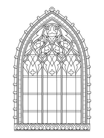 Beautiful medieval stained glass window in French churches. Black and white drawing for coloring book. Flaming Gothic architectural style in western Europe. Worksheet for children. Vector image. Stock Illustratie
