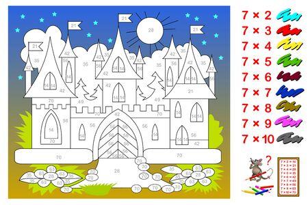 Tabla de multiplicar por 7 para niños. Educación matemática. Libro de colorear. Necesita pintar el castillo correspondiente a los números. Juego de rompecabezas de lógica. Hoja de trabajo imprimible para libros de texto para niños. De vuelta a la escuela. Ilustración de vector