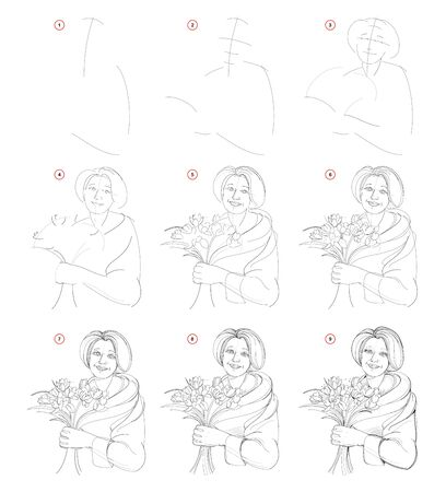 How to draw step by step sketch of old women portrait with bouquet of flowers. Creation pencil drawing. Educational page for artists. Textbook for developing artistic skills. Hand-drawn vector image.