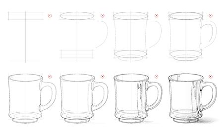 How to draw from nature sketch of realistic glass mug. Creation step by step pencil drawing. Educational page for artists. School textbook for developing artistic skills. Hand-drawn vector image.