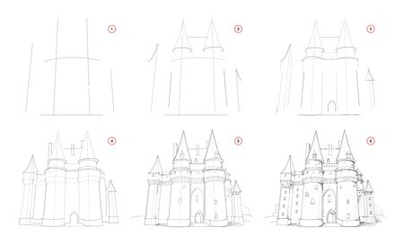 Creation pencil drawing. How to draw from nature step by step sketch of medieval knight castle. Educational page for artists. School textbook for developing artistic skills. Hand-drawn vector image.