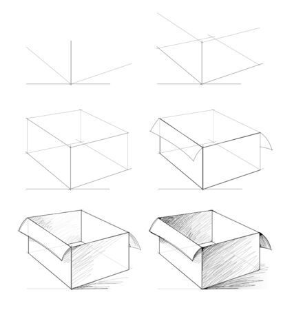 How to draw from nature sketch of realistic open box. Creation step by step pencil drawing. Educational page for artists. School textbook for developing artistic skills. Hand-drawn vector image.