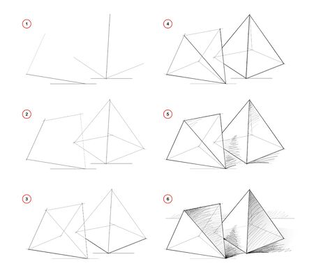 How to draw from nature sketch of still life with pyramids. Creation step by step pencil drawing. Educational page for artists. Textbook for developing artistic skills. Hand-drawn vector image. Stock Illustratie