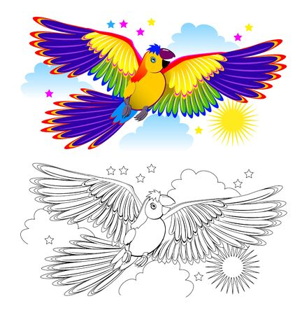 Colorful and black and white page for coloring book for kids. Fantasy drawing of cute parrot flying on the sky. Printable worksheet for children and adults. Hand-drawn vector image.
