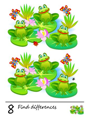 Find 8 differences. Logic puzzle game for children and adults. Printable page for kids textbook. Three cute frogs in the swamp. Developing counting skills. IQ training test. Vector cartoon image.