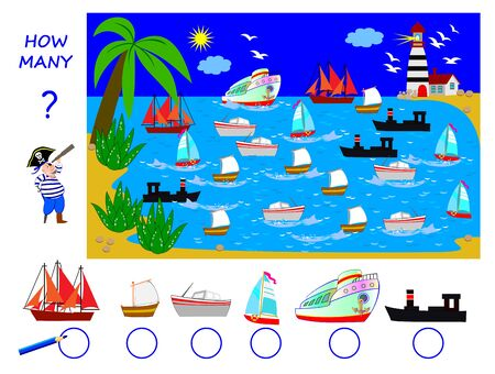 Math education for children. Help the pirate count quantity of each of boats in the sea and write the numbers. Developing counting skills. Printable worksheet for kids school book. Logic puzzle game.